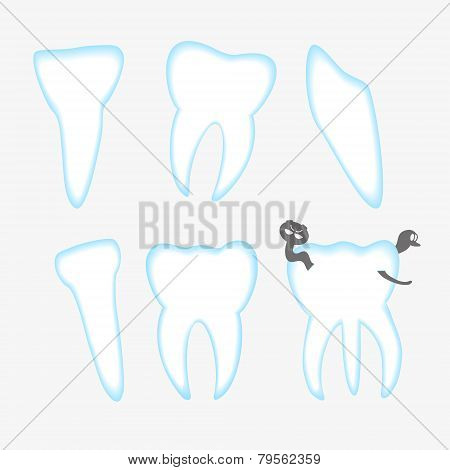 Vector White And Blue Teeth With Decay Eps10