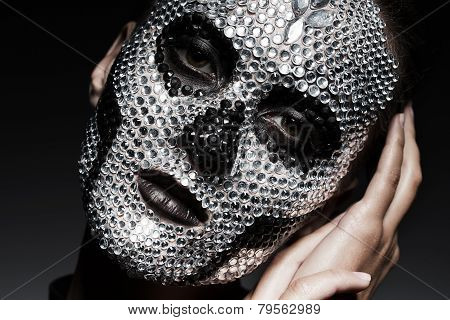 Mysterious Woman In Rhinestones With Skull Face