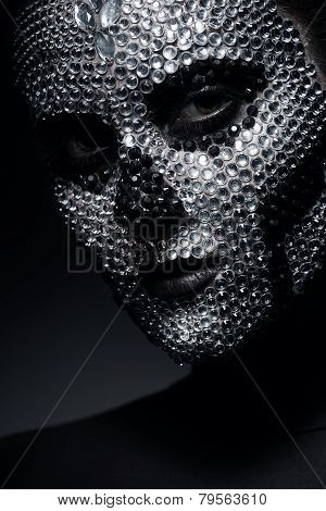 Pretty Woman In Rhinestones With Skull Face
