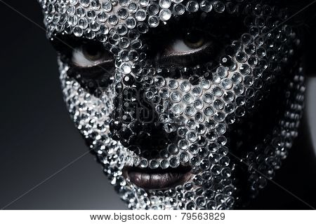 Scary Woman With Skull Face Of Rhinestones