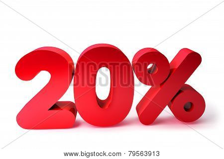 20% 3D Render Red Word Isolated in White Background