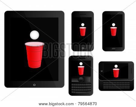 Mobile Devices With Beer Pong Icon Black