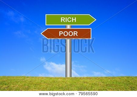 Sign showing rich or poor