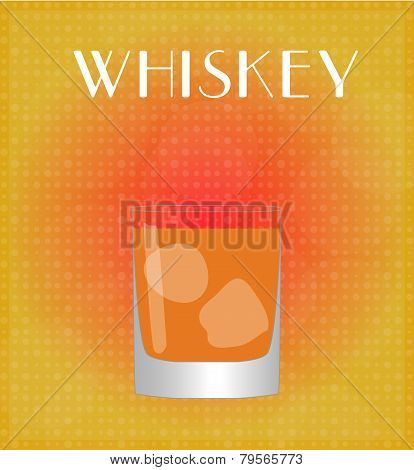 Drinks List Whiskey With Red & Golden Background