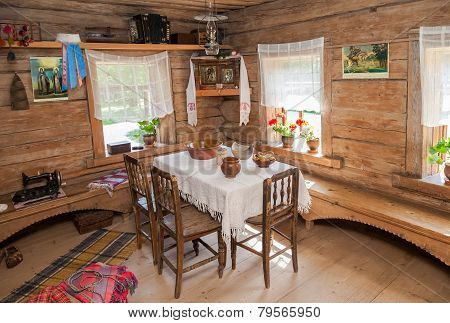 Interior Of Old Rural Wooden House In The Museum Of Wooden Architecture Vitoslavlitsy, Russia