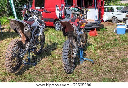 Motorcycle Racing After The Competition In Motocross