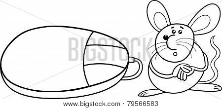 Computer And Real Mouse Coloring Page
