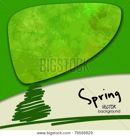art abstract one tree, spring background; card with space for text