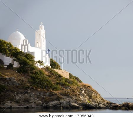 Greek Island Architecture Bell Tower Church Ios Cyclades Island Over Mediterranean Sea