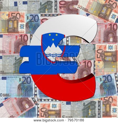 Euro symbol with Slovenian flag on Euro currency illustration