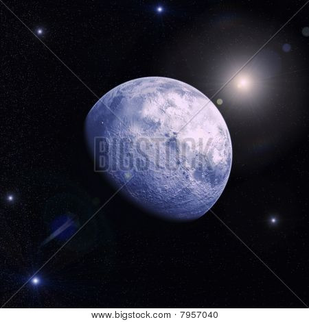 Space Landscape With A Planet, Moon And Stars