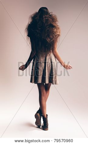 Woman With Long Fluffy Casual Hair