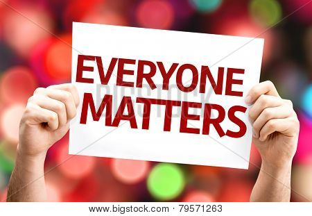 Everyone Matters card with colorful background with defocused lights