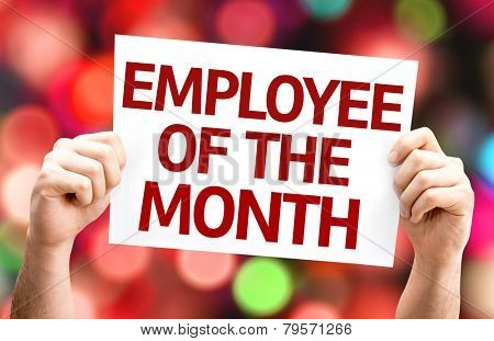 Employee of the Month card with colorful background with defocused lights