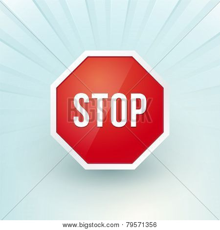 Stop Sign On A Blue Background