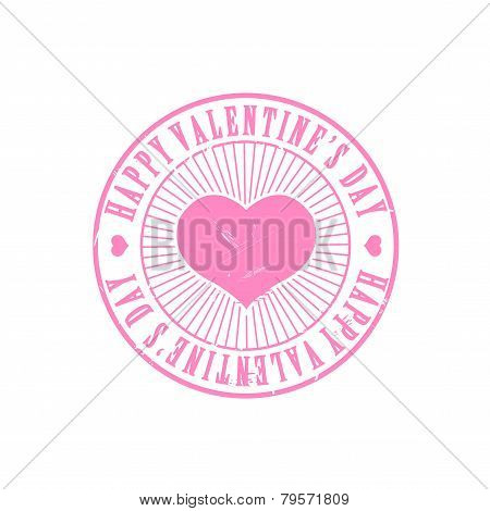 Pink Valentine heart stamp