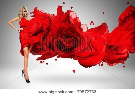 Blond Woman In Beautiful Blown Rose Dress
