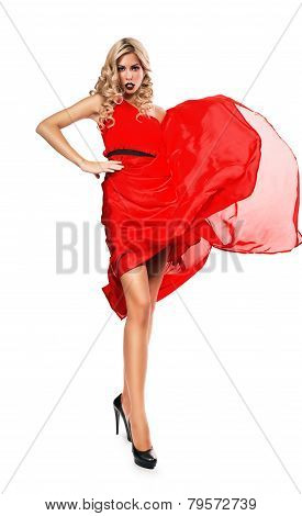 Blond Woman In Blown Red Dress