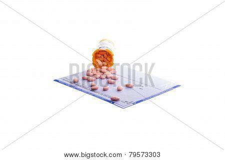 Prescription Form Covered In Pills