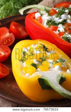 Red And Yellow Peppers Stuffed With Cottage Cheese Vertical