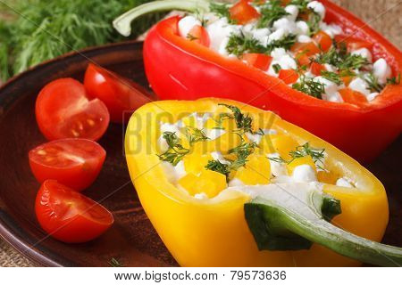 Red And Yellow Peppers Stuffed With Cottage Cheese Horizontal
