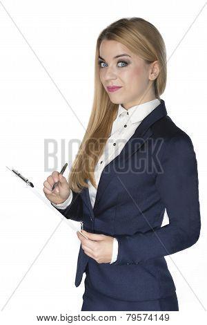 Blonde Businesswoman Writing On Clipboard