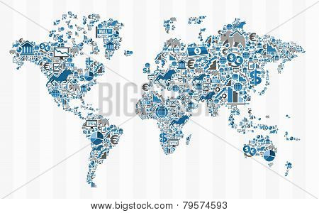 Stock Exchange Finance World Map Concept