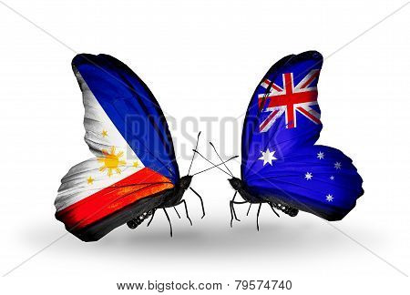 Two Butterflies With Flags On Wings As Symbol Of Relations Philippines And Australia