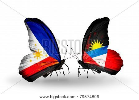 Two Butterflies With Flags On Wings As Symbol Of Relations Philippines And Antigua And Barbuda