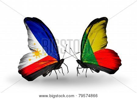 Two Butterflies With Flags On Wings As Symbol Of Relations Philippines And Benin
