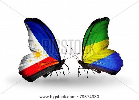 Two Butterflies With Flags On Wings As Symbol Of Relations Philippines And Gabon