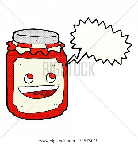 cartoon jar of preserve with speech bubble