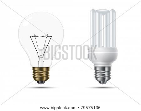 Realistic conventional and energy saving light bulbs opposed, isolated on white background vector illustration