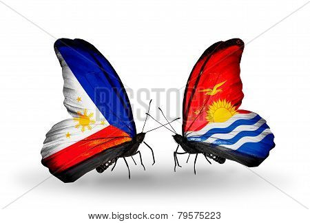 Two Butterflies With Flags On Wings As Symbol Of Relations Philippines And Kiribati