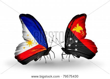 Two Butterflies With Flags On Wings As Symbol Of Relations Philippines And Papua New Guinea