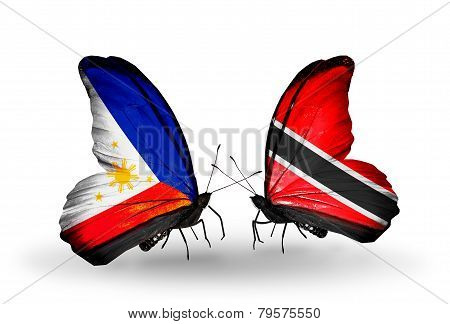 Two Butterflies With Flags On Wings As Symbol Of Relations Philippines And Trinidad And Tobago