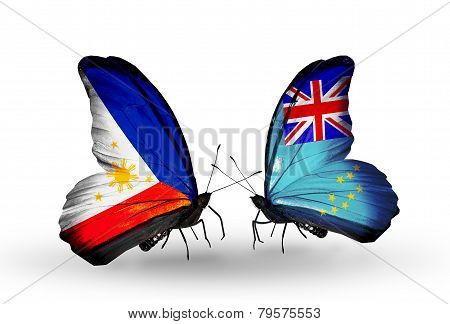 Two Butterflies With Flags On Wings As Symbol Of Relations Philippines And Tuvalu