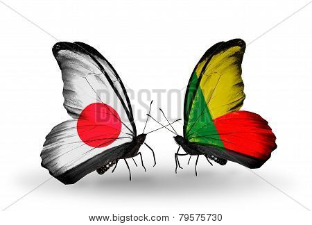 Two Butterflies With Flags On Wings As Symbol Of Relations Japan And Benin