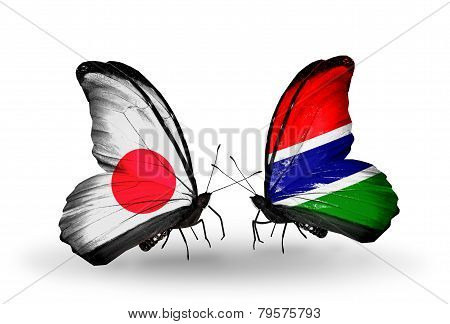 Two Butterflies With Flags On Wings As Symbol Of Relations Japan And Gambia