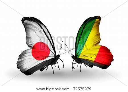 Two Butterflies With Flags On Wings As Symbol Of Relations Japan And Kongo