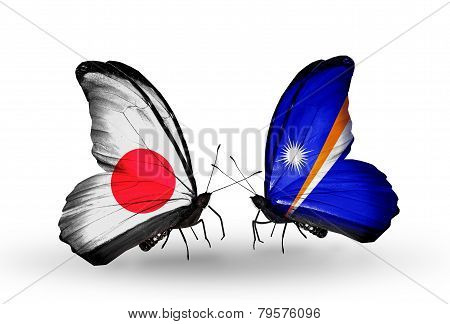 Two Butterflies With Flags On Wings As Symbol Of Relations Japan And Marshall Islands