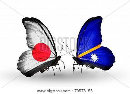 Two Butterflies With Flags On Wings As Symbol Of Relations Japan And Nauru