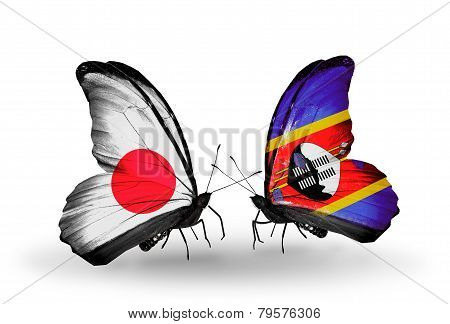 Two Butterflies With Flags On Wings As Symbol Of Relations Japan And Swaziland