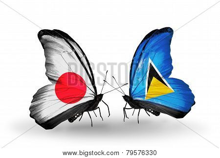 Two Butterflies With Flags On Wings As Symbol Of Relations Japan And Saint Lucia
