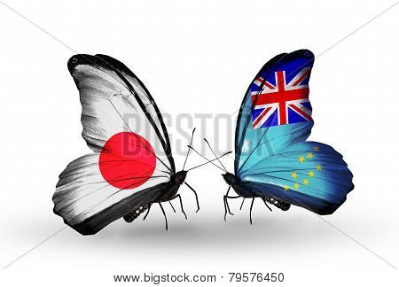 Two Butterflies With Flags On Wings As Symbol Of Relations Japan And Tuvalu