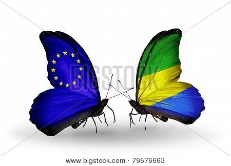 Two Butterflies With Flags On Wings As Symbol Of Relations Eu And Gabon