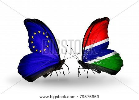 Two Butterflies With Flags On Wings As Symbol Of Relations Eu And Gambia