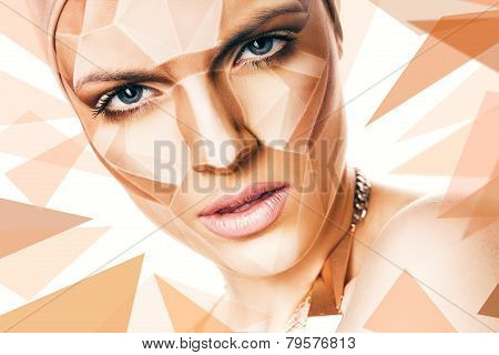 Portrait Of Woman With Geometrical Bodyart And Pattern