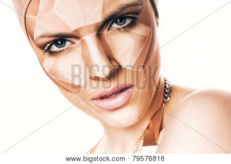 Portrait Of Woman With Geometrical Bodyart