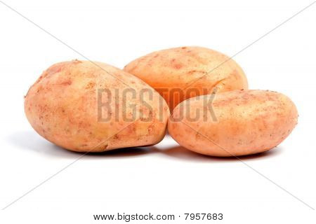 Three Potatoes Isolated On White Background